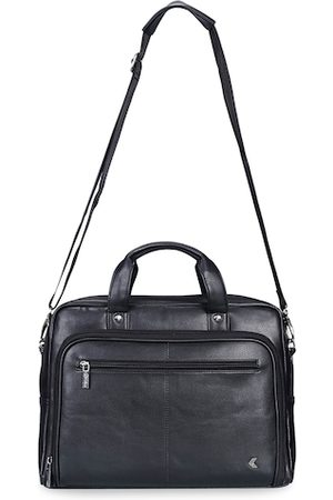 Khadims Men Black Solid Laptop Bag