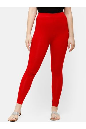 De Moza Women Red Solid Ankle-Length Leggings