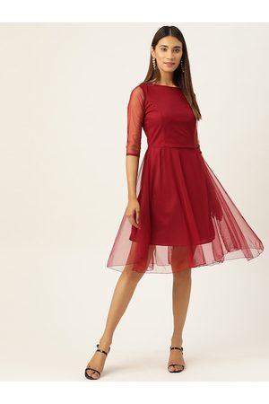 U&F Women Maroon Solid Fit and Flare Dress