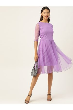 U&F Women Lavender Solid Fit and Flare Dress