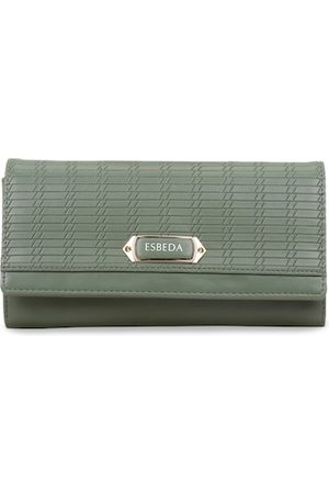 ESBEDA Women Green Textured Envelope Wallet