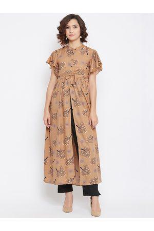 U&F Women Brown Printed Maxi Dress