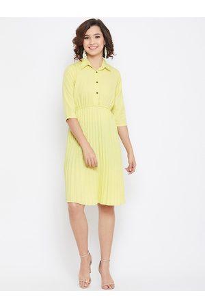 U&F Women Yellow Solid Shirt Dress