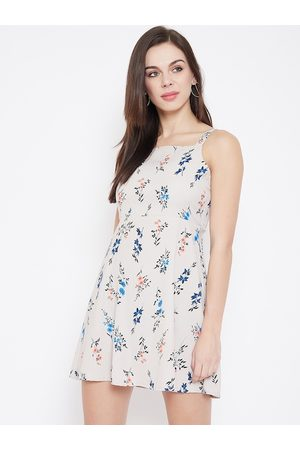 U&F Women Off-White Floral Printed Fit and Flare Dress