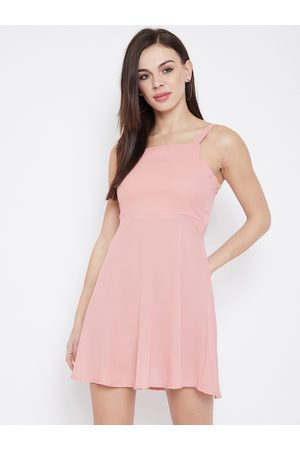 U&F Women Pink Solid Fit and Flare Dress