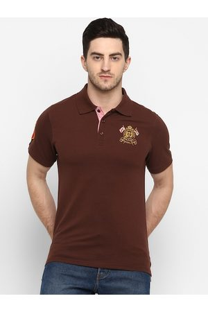 American Crew Men Brown Solid Polo Collar T-shirt