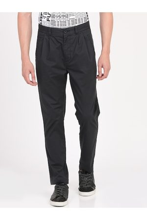 Breakbounce Men Black Slim Fit Solid Regular Trousers