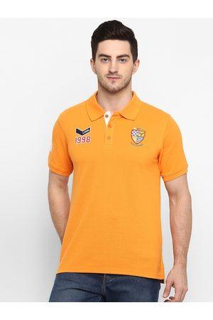 American Crew Men Orange Printed Polo Collar T-shirt
