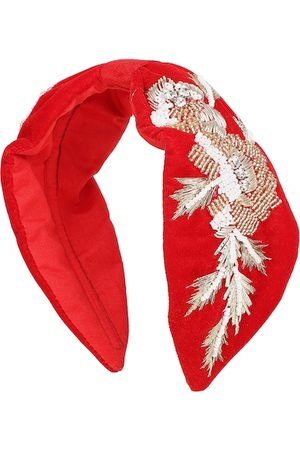 Anekaant Red & Gold-Toned Embroidered Velvet Hairband