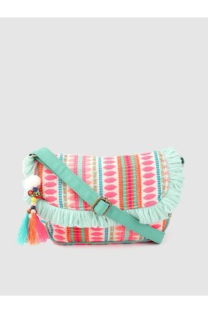 Anouk Bags - Pink & Blue Self-Striped Sling Bag with Tasselled Detail