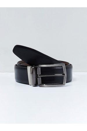 max Men Black Leather Reversible Solid Belt