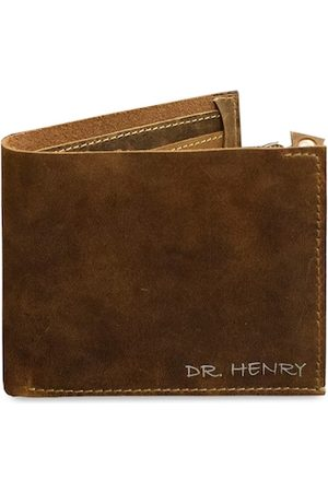 DR. HENRY Men Tan Textured Leather Two Fold Wallet