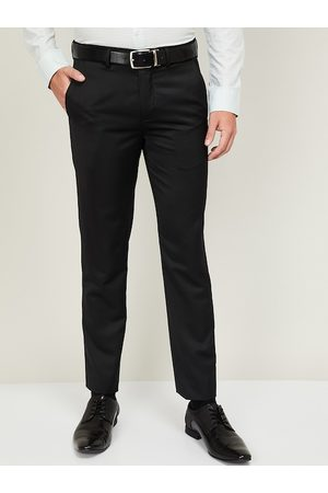 CODE by Lifestyle Men Black Slim Fit Solid Formal Trousers