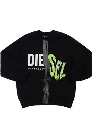 Diesel Boys Sweatshirts - Logo Print Cotton Sweatshirt