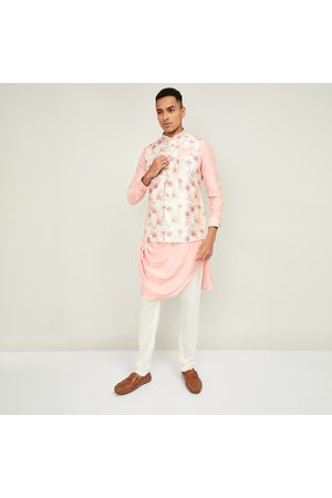 Manyavar Men Kurtas - Men Solid Kurta with Churidar and Printed Nehru Jacket