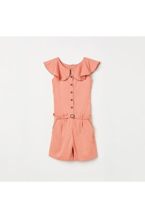 Peppermint Girls Playsuits - Girls Solid Playsuit with Ruffle Detail