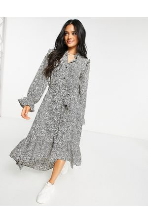 Missguided Midi smock dress with frill neck in snake