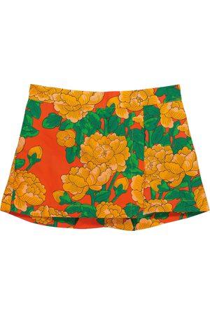 Mini Rodini Girls Shorts - Peonies floral cotton-poplin shorts