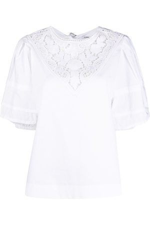 P.a.r.o.s.h. Women Shirts - Lace-panel cotton blouse