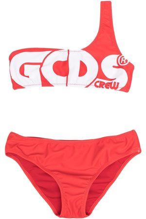 GCDS Girls Bikinis - Asymmetric one-shoulder bandeau bikini