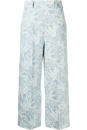 Msgm Women Trousers - Floral jacquard cropped trousers