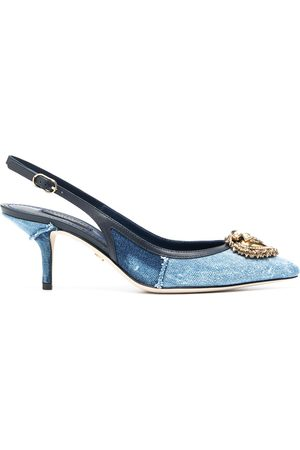 Dolce & Gabbana Women Heels - Devotion 10mm denim slingback pumps