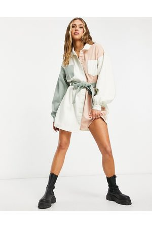 Missguided Colourblock denim shirt dress with belt