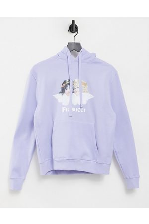 Fiorucci Relaxed hoodie with angel graphic in lilac co-ord