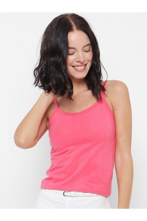 Forever 21 Women Pink Solid Tank Top
