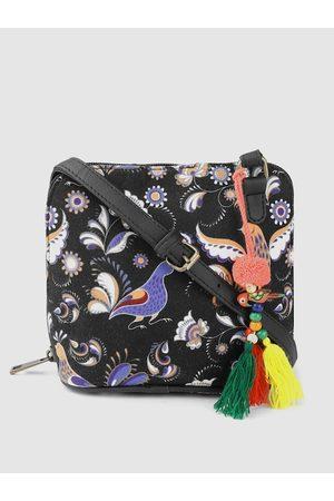 Anouk Black & Blue Ethnic Motifs Print Sling Bag with Tasselled Detail