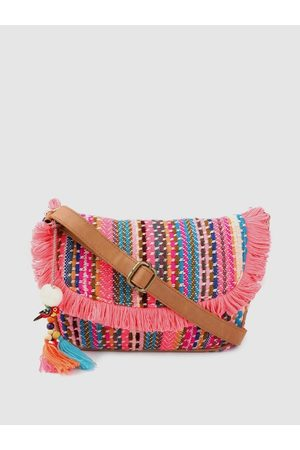 Anouk Pink & Blue Self-Striped Sling Bag with Tasselled Detail
