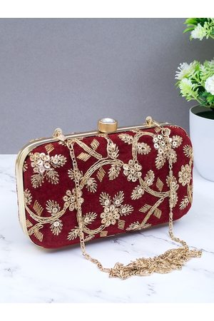 Golden Peacock Women Maroon & Gold-Toned Embroidered Clutch