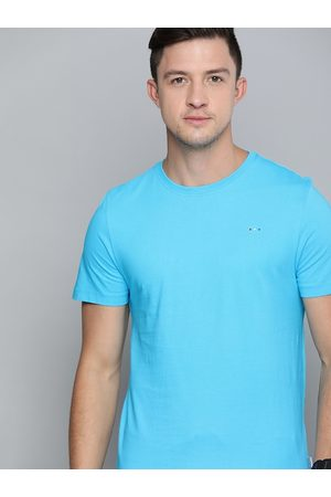 HARVARD Men Blue Solid Round Neck T-shirt