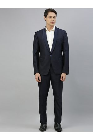 Ethnix by Raymond Men Navy Blue Solid Regular Fit Single-Breasted Formal Suit