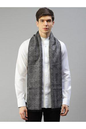 Bruun & Stengade Men Grey Checked Pure Silk Scarf