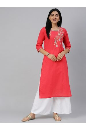 Alena Women Red Yoke Design Straight Kurta