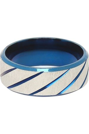 OOMPH Men Blue & White Titanium Matte Broad Band Handcrafted Finger Ring