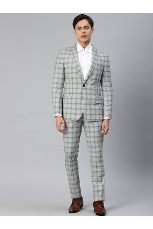 Arrow New York Men Grey and Black Checked Single-Breasted Formal Suit