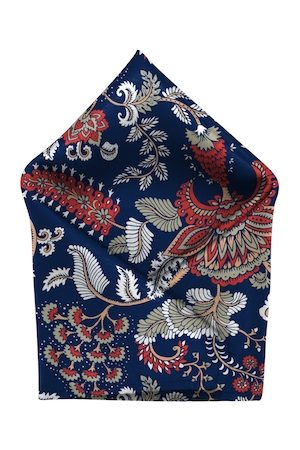 Blacksmith Men Blue & Red Floral Printed Sustainable Pocket Square
