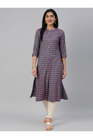 Alena Women Purple & White Checked Straight Kurta