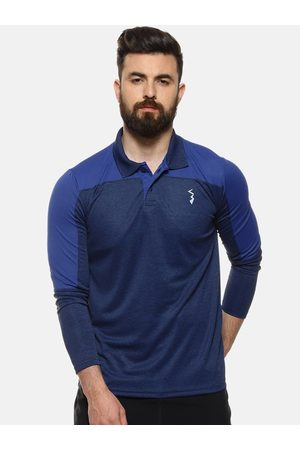 Campus Men Blue Colourblocked Polo Collar Anti-Microbial T-shirt