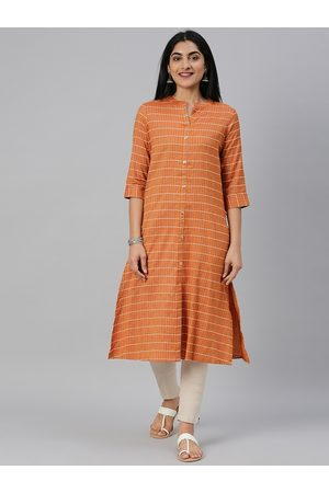 Alena Women Kurtas - Women Mustard Orange & Off-White Checked Straight Kurta