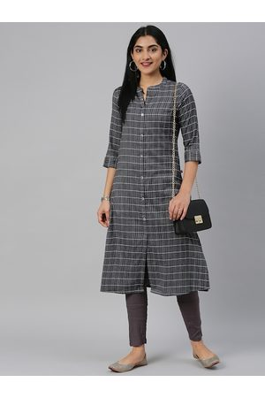 Alena Women Black & Off-White Checked Straight Kurta
