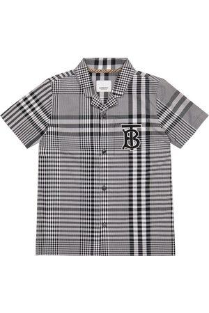 Burberry Kids Logo checked cotton poplin shirt