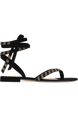 GIANVITO ROSSI 10mm Embellished Suede Thong Sandals