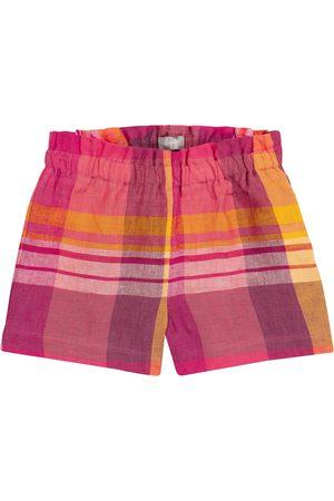 Il gufo Girls Shorts - Checked linen shorts