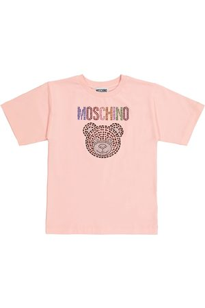 Moschino Embellished stretch-cotton T-shirt