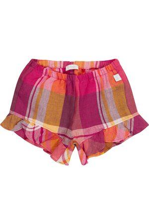 Il gufo Baby checked linen shorts