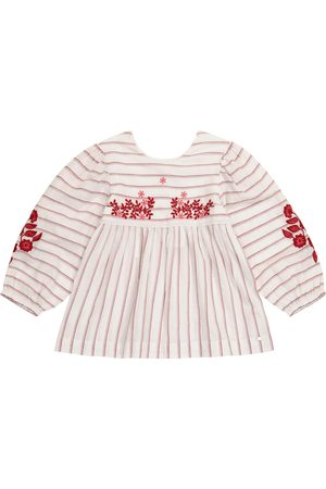 Tartine Et Chocolat Striped cotton-blend voile top