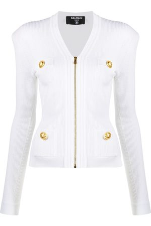 Balmain Zipped rib-knit jacket